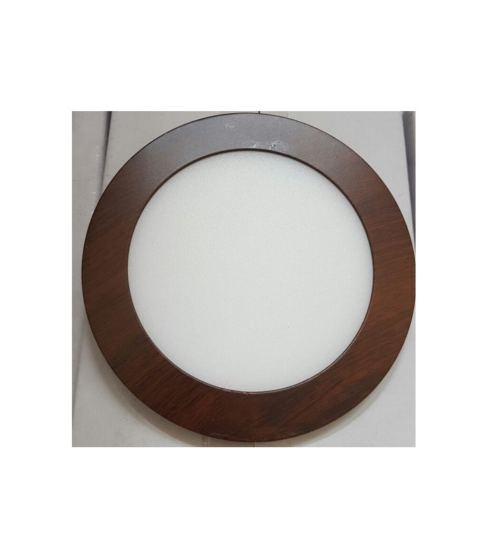 Placa Downlight led 12W Redondo Marco Color Madera