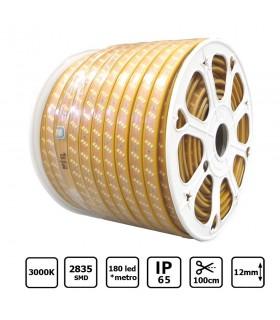 Tira LED 220V 3 líneas 12mm 180 leds por metro