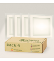 Pack X4 Downlight LED 18W Cristal Cuadrado Blanco Empotrable